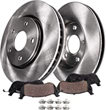 Detroit Axle - Pair (2) Front 293MM Disc Brake Rotors w/Ceramic Pads w/Hardware for 2009-2010 Subaru Impreza WRX & 2.5GT - [2011-2014 Impreza WRX] - Will Not fit WRX STI