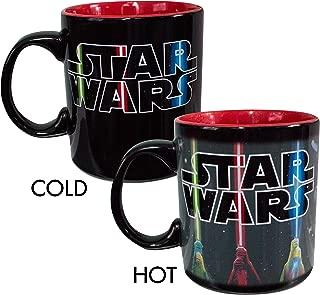 Silver Buffalo SW128834V Star Wars Light Sabers Logo Heat Reveal Ceramic Mug, 20-Ounce, Black