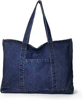 Light Weight Soft Denim Tote Unisex Shopper Shoulder Handbag