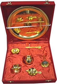 Indian Accent Gold Plated Brass Bell Pooja Thali Set