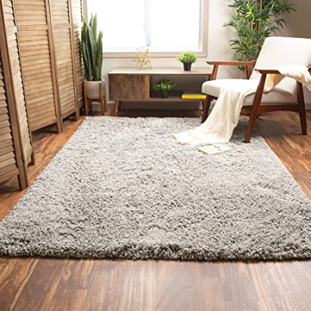 Super Area Rugs Ultra Fluffy Soft Handmade Shag Rug For Home Decor Non Skid Gray 5 X 7 Furniture Decor