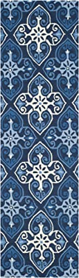 """Safavieh Four Seasons Collection FRS232A Hand-Hooked Runner, 2' 3"""" x 8', Navy/Ivory"""