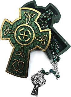 Elysian Gift Shop Celtic Cross Keepsake Gold and Green Jewelry Box, Includes Irish St Patrick Rosary with Celtic Cross