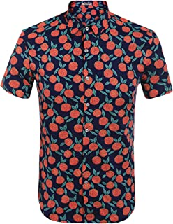 6b9a7026798c Hotouch Men s Hawaiian Aloha Shirt Short Sleeve Tropical Floral Print Button  Down Shirt