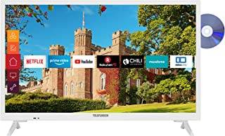 Telefunken XH24J501D-W 24 inch televisie (Smart TV incl. Prime Video/Netflix/YouTube, HD ready, DVD-speler, Works with Ale...