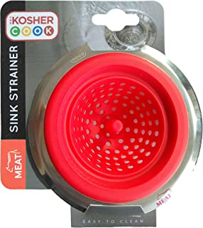 Meat Red Kitchen Sink Strainer - Durable Silicone – Large Wide Rim - Drains Water Fast and Efficiently - Color Coded Kitchen Tools by The Kosher Cook