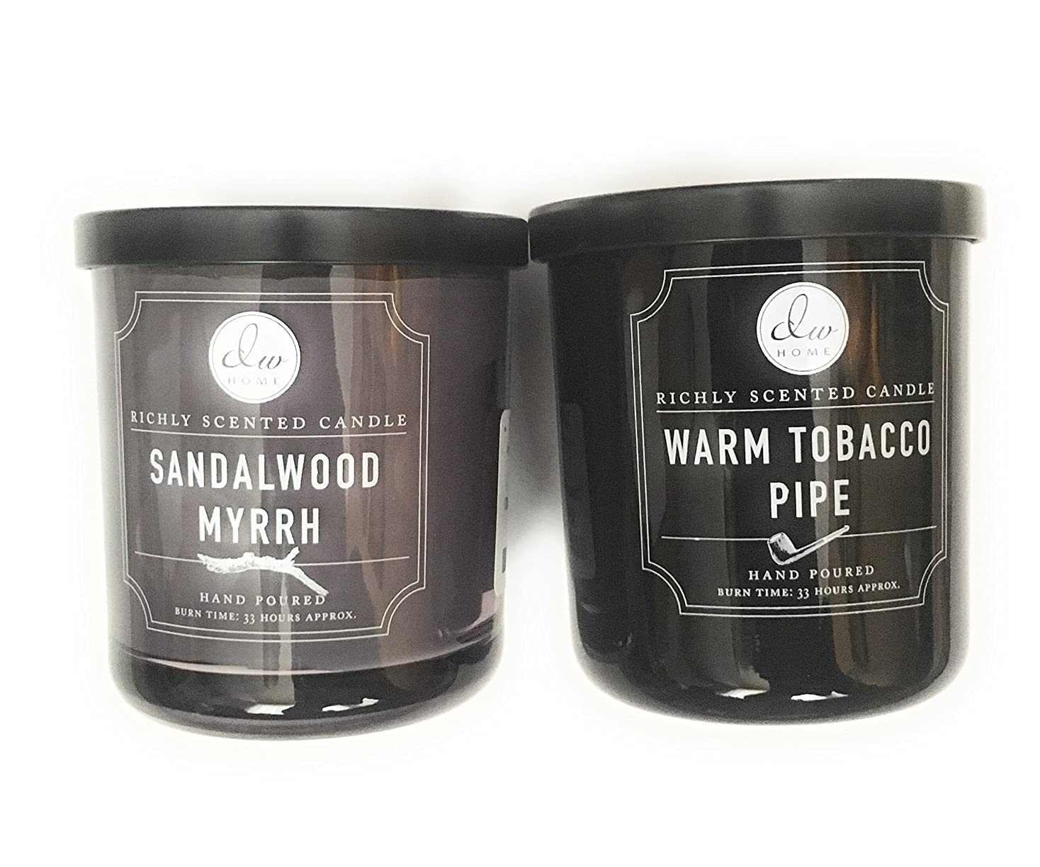 大混乱ありそう時代遅れDW Home Candle Bundle with a Warm Tobacco Pipe (290ml) Candle and a Sandalwood and Myrrh (290ml) Candle (2 items)
