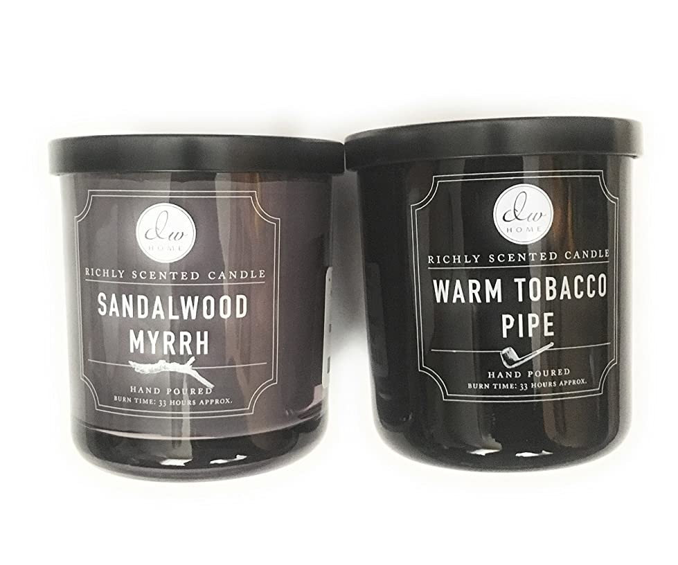 咳バルーンはっきりしないDW Home Candle Bundle with a Warm Tobacco Pipe (290ml) Candle and a Sandalwood and Myrrh (290ml) Candle (2 items)