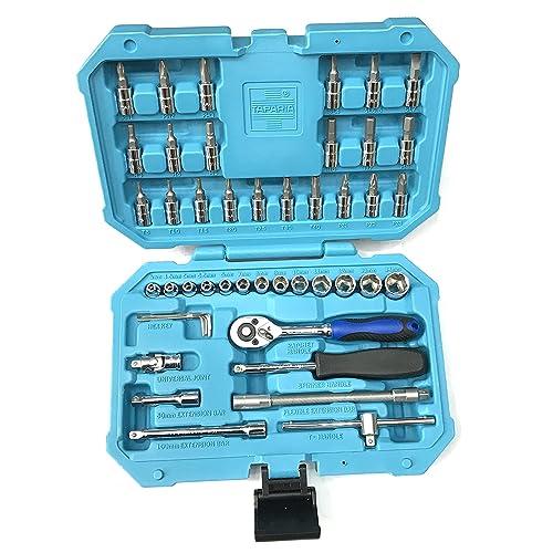 """TOOLSCENTRE New 46PCS 1/4"""" Taparia Socket Set for Car, Motorbike, Bicycle Repair Tool Kit"""