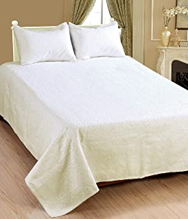 Saral Home Fashions Blossom Metallesse Bedspread with Sham, King, Ivory (Bedspread-106x92 inches, Sham-26x20 inches)