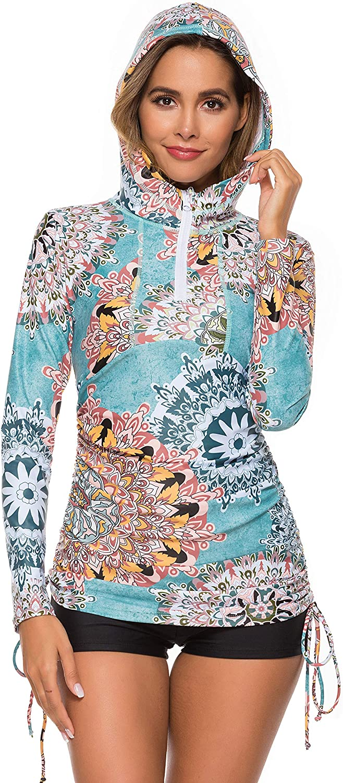 Caracilia Women's UV Sun Protection Long Sleeve Hooded Rash Guard Wetsuit Swimsuit Top