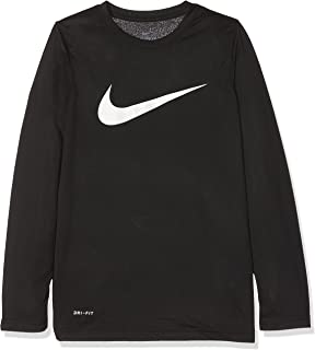 Nike Boys Legend Long Sleeve Athletic T-Shirt (Black/White, X-Small)