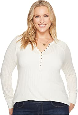 Lucky Brand - Plus Size Embroidered Mix Henley