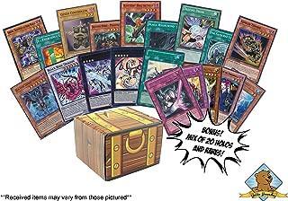 100 Yugioh Cards! Bonus - A Mix of 20 Rares and Holos! Includes Golden Groundhog Treasure Chest Storage Box!