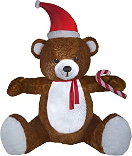 Gemmy 8.5' Animated Airblown Giant Mixed Media Teddy Bear Christmas Inflatable