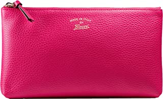 Gucci Grained Calf Italian Leather Trademark-Embossed Swing Clutch (Pink)