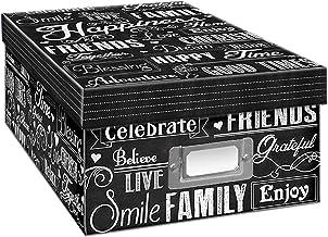 Caixa de armazenamento de fotos Pioneer Photo Albums, quadro-negro, design de felicidade