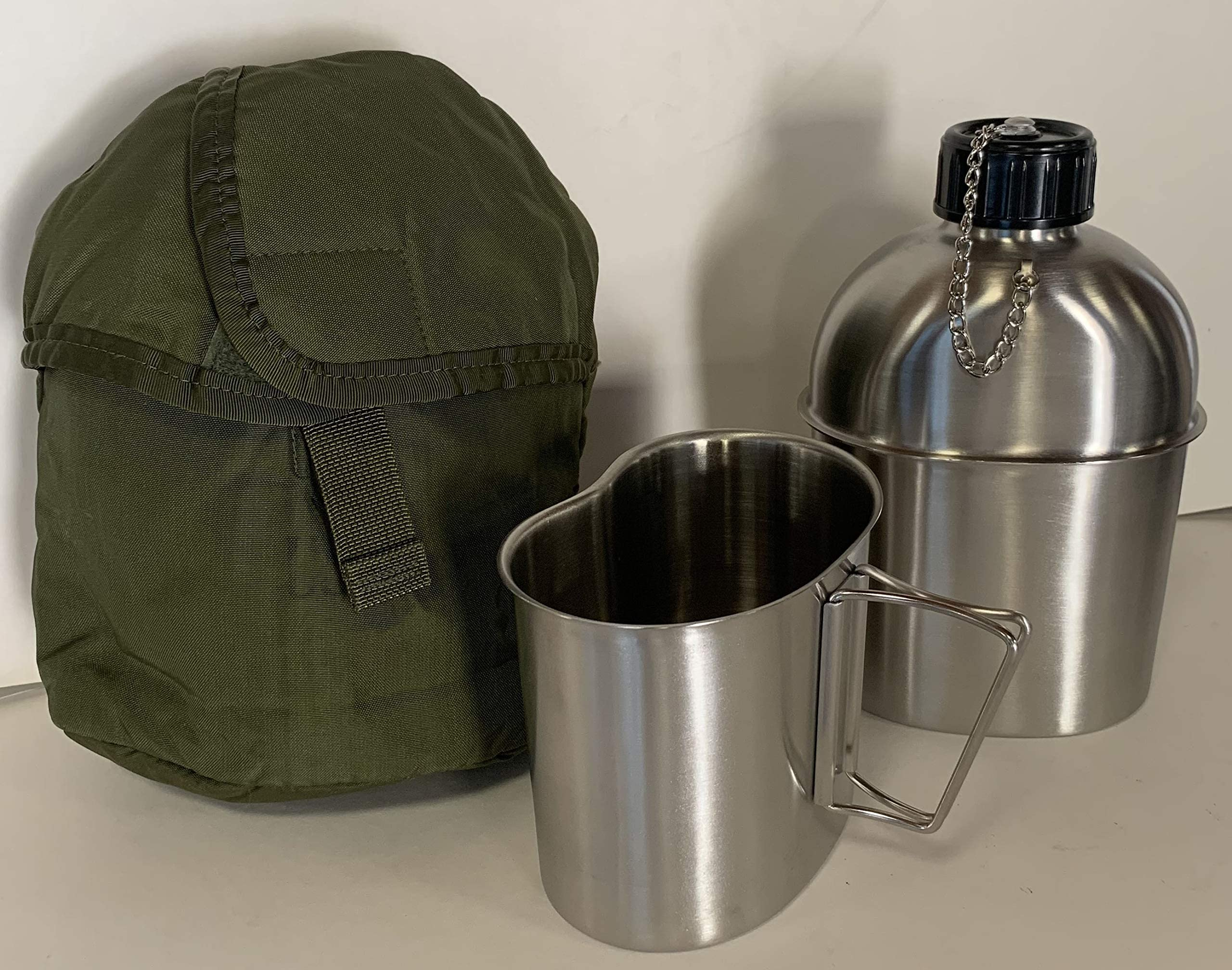 MILITARY STYLE STAINLESS STEEL CANTEEN WITH CUP 1.3LITER With Genuine G.I Nylon Od Color Insulated Canteen Cover KIT. 44oz.