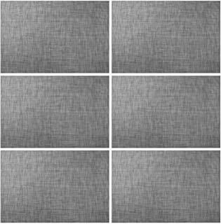 AMZMOO placemats for Dining Table Set of 6,Heat-Resistant Anti-Abrasion Anti-Slip Washable PVC Table Mats Vinyl Placemats(Grey)