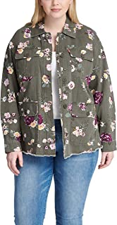 womens Floral Printed Cotton Shirt Jacket (Standard & Plus Sizes)