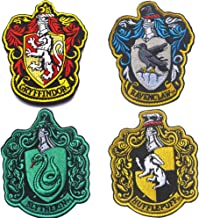 Harry Potter House of Gryffindor, Ravenclaw, Hufflepuff, Slytherin House Hogwarts Crest Patch Hook and Loop Backing 3.94