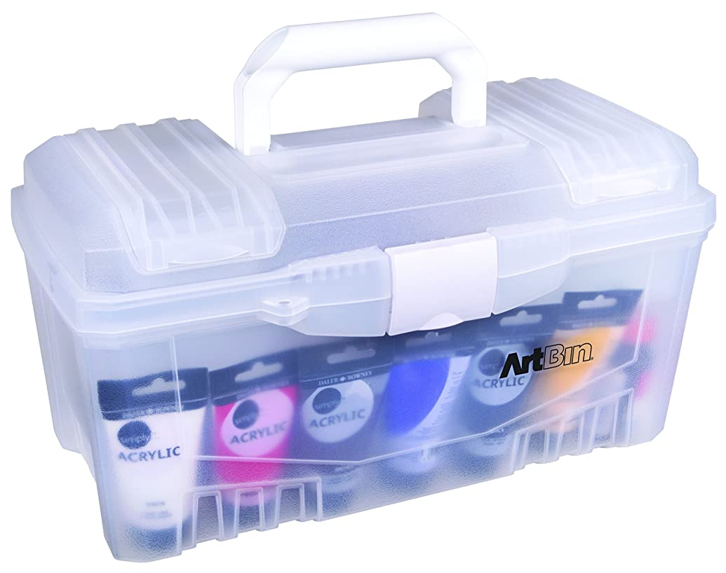 ArtBin Transparent 6918AH 17 Inch Twin Top Art Supply Storage Box, Clear