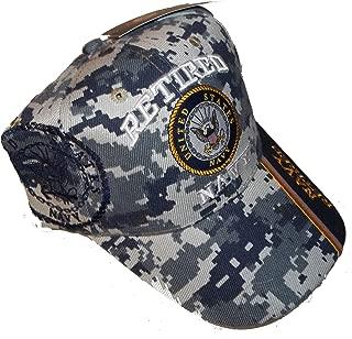 USA Retired Navy Baseball Style Embroidered Hat Blue Camo Cap Vet Us Veteran