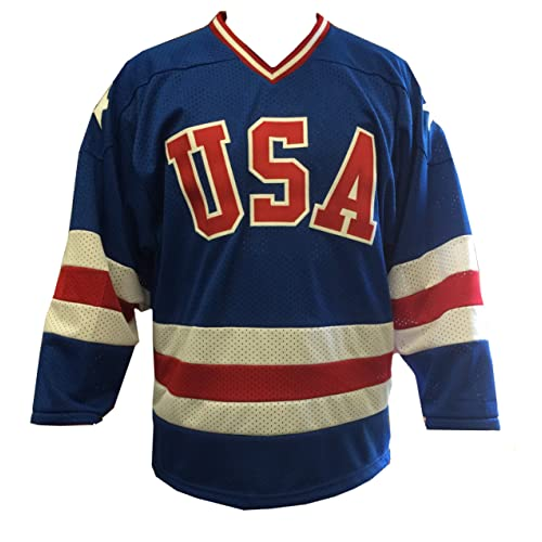Blue Away 1980 USA Olympic Hockey Replica Game Mesh Jersey Miracle on Ice  Adult 714c4be5993