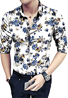 Radhe Digital Print Men's Poly Cotton Floral Digital Printed Unstitched Full Sleeves Shirt (Multicolour, Free Size)