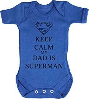TRS Clothing TRS - Calm Dad Is Superman Baby Bodys / Strampler 100% Cotton
