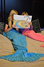 """Mermaid Tail Blanket 55"""" All Season Crochet Soft Cozy; ideal for Gift (child, Lavendar with Dark Purple accents)"""