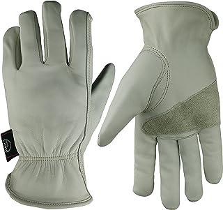 KIM YUAN Leather Work Gloves Grain Cowhide for Yard Work, Gardening, Farm, Warehouse, Construction, Motorcycle, with Elastic Wrist, Men & Women Large