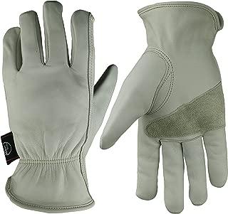 KIM YUAN Leather Work Gloves Grain Cowhide for Yard Work, Gardening, Farm, Warehouse, Construction, Motorcycle, with Elastic Wrist, Men & Women X-Large