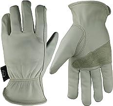 KIM YUAN Leather Work Gloves Grain Cowhide for Yard Work, Gardening, Farm, Warehouse,..
