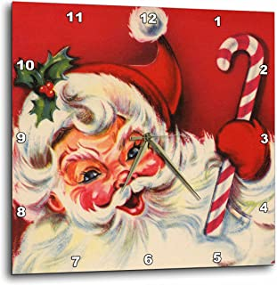 3dRose Santa and The Candy Cane - Wall Clock, 13 by 13-Inch (DPP_29056_2)