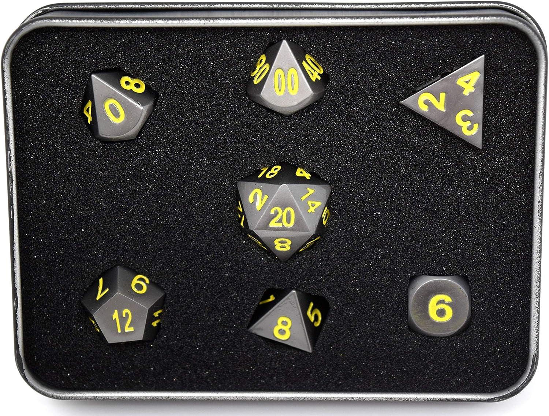Die Hard Dice  RPG Metal Gunmetal with Yellow  Set of 7 Polyhedral D4, D6, D8, D10, D10%, D12, D20