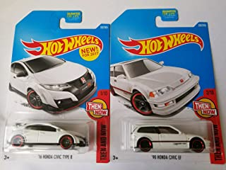 2017 Hot Wheels Then And Now - '16 Honda Civic Type R (White) & 1990 Honda Civic EF (White) - Set of 2!