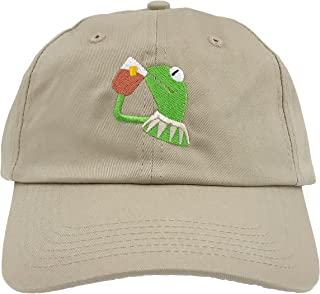 Kermit The Frog Dad Hat Cap Sipping Sips Drinking Tea Champion Lebron Costume (Tan)