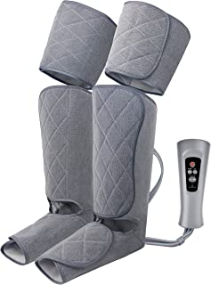 Oliver James Leg Massager for Circulation and Relaxation with Heat - Foot, Calf and Thigh Massage Air Compression with Handheld Controller, 5 Modes 4 Intensities, Relax and Relieve Muscle Pain