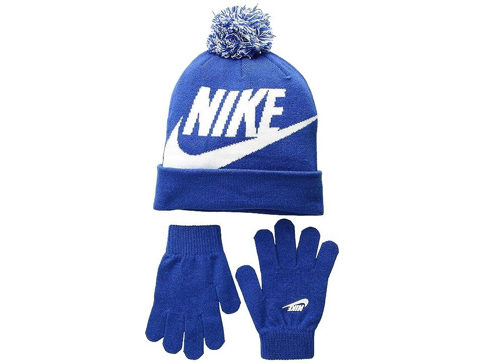 Nike Kids Swoosh Pom Beanie Gloves Set (Little Kids/Big Kids) (Game Royal) Beanies
