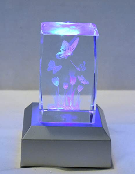 New 3D 5 Butterfly Butterflies Tulip Flowers Laser Etched Hologram Glass LED Base