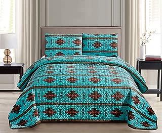 JABA Southwest Teal/Burgundy/Brown Print Bedspread 3 Piece Navajo/Native American Design Microfiber Cabin Lodge Quilt Set- Queen Size Southwestern Bedding (Queen)