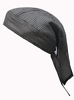 CHEFSKIN ZANDANA CHEF HAT HOUNDSTOOTH FITS ANYBODY LONG STRAPS FULLY ADJUSTABLE COOL, FRESH COMFORTABLE SOFT FABRIC EASY CARE GOOD FOR COOKS CHEFS DOCTORS SURGEONS, VETERINARY DOCTORS, BIKERS AND AS A NICE GIFT