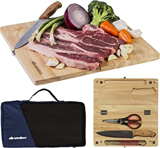 Wealers Kitchen Cutting Board Chopping Knife and Board Set Wooden Professional Knife with Foldable Board – Travel-Friendly Kit Ideal for Camping Picnics Durable Wood & Stainless-Steel (Large 5 Piece)