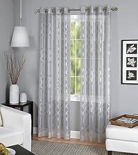 "Elrene Home Fashions 26865820096 Grommet Top Sheer Ironwork Damask Single Panel Window Curtain Drape, 52"" x 84"", Gray"