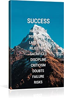 Eqoya Success Inspirational Wall Art Posters for Home Office, College Dorm, Motivational Quote Decor Canvas, Encouraging Positive Growth Mindset Quotes for Classroom, Inspiring Poster and Print