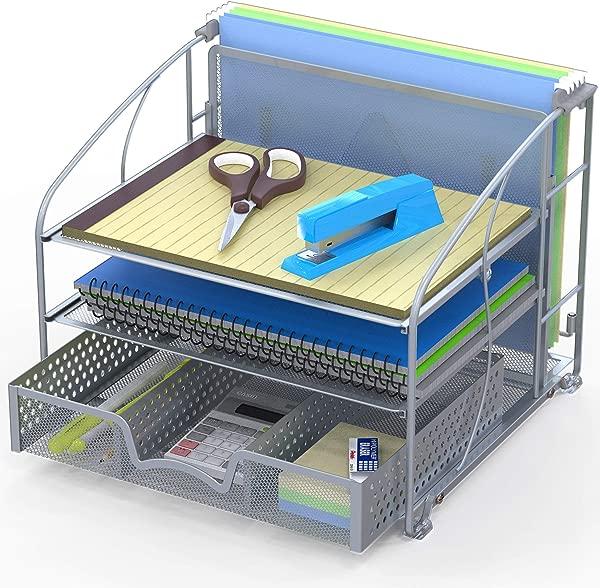 SimpleHouseware Desk Organizer 3 Tray W Sliding Drawer And Hanging File Holder Silver