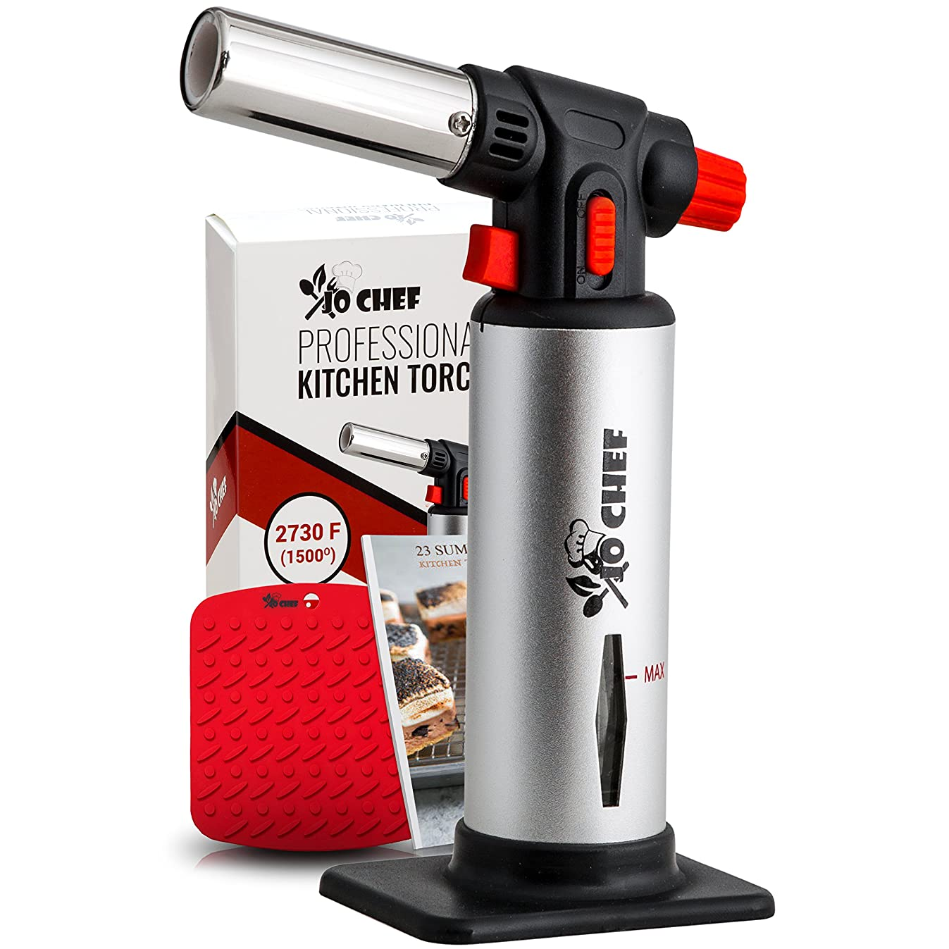 Jo Chef Kitchen Torch, Blow Torch - Refillable Butane Torch With Adjustable Flame - Culinary Torch, Creme Br?lée Torch For Cooking Food, Baking, BBQ & More + FREE Recipe eBook (With Fuel Gauge)