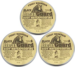 Foggy Mountain, a Maine Outdoor Solutions Brand Bear Guard Black - Boot and Leather Waterproofing with Color - Beeswax and Bear Grease - 3 Pack