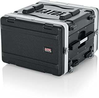 Gator Cases Lightweight Rolling 6U Rack Case with Heavy Duty Latches, Retractable Tow Handle, and Recessed Wheels; Standard 19.25